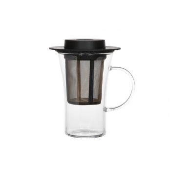 Finum Finum Teaglass+filter+lid Black 280ml