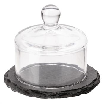 APS slate leistenen botervloot met glazen deksel