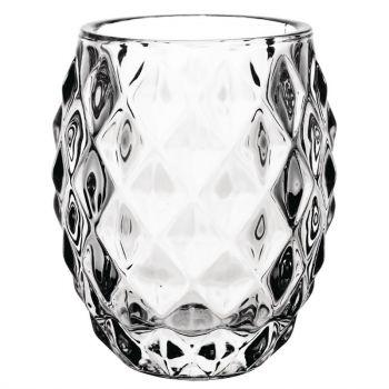 Olympia glazen theelichthouder transparant diamant 7.5cm