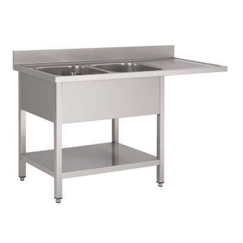Gastro M RVS spoeltafel met ruimte voor vaatwasser 160x70cm