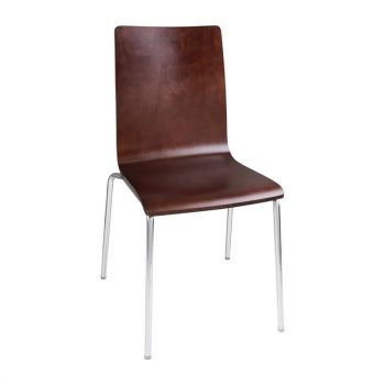 Bolero stoel met vierkante rug noten - 4 stuks