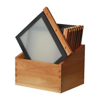 Securit menumappen set met houten box A4 zwart