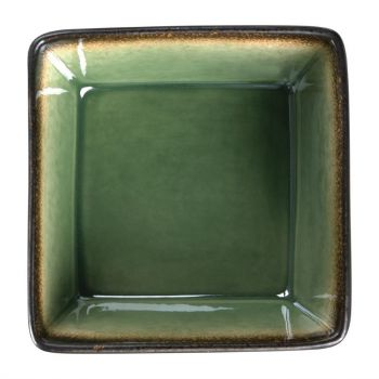 Olympia Nomi vierkante tapaskommen groen-zwart 11x11cm