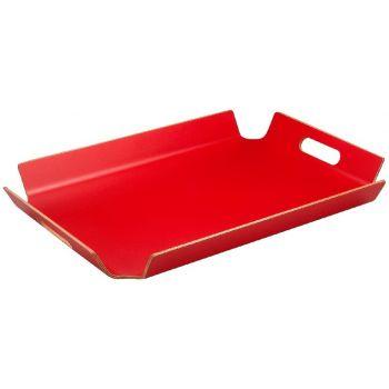 Rotes Tablett mit Handgriffe 55x40x5cm