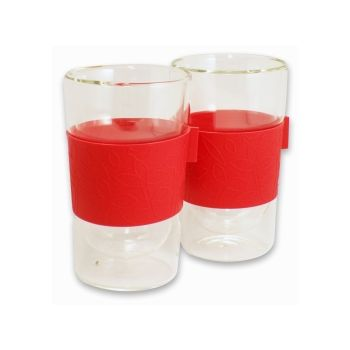Make My Day doppelwandiges Glas 300ml Set von 2 Stück rot