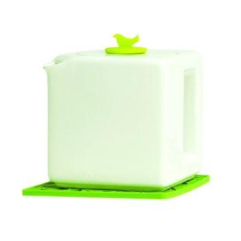 Make My Day weiße Teekanne Kubus  4-Tasse mit grüner Schale MMD-TC04-WT