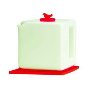Make My Day weiße Teekanne Kubus 4-Tasse mit roter Schale