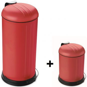 Point Virgule Promotion Dixx Mülleimer 30L+ Kostenlos 5L Rot