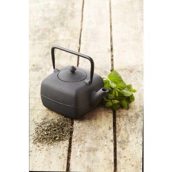 Point-Virgule quadratische Teekanne aus Gusseisen mit Sieb schwarz 400 ml