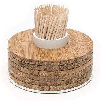 Point-Virgule Bambus Glasuntersetzer 6 Stück auf Zahnstocherbehälter weiß