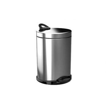 Pedal Behälter Silber-Schwarz 5l