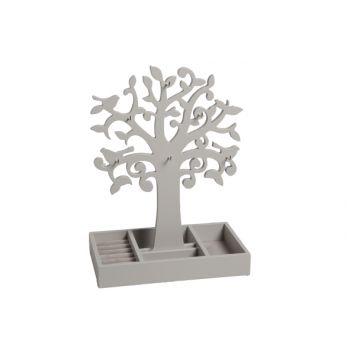 Wooden jewelry tree grey 24x14x34cm