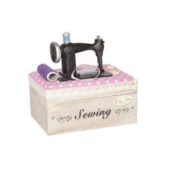 Wooden box deco sewing machine