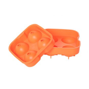 Ice cube tray balls orange 4pcs d4.5cm