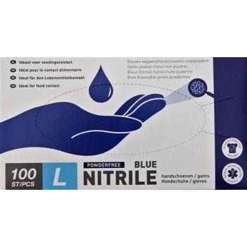 Handschoenen Nitril Blauw  Nr 9 Poedervrij 100 St Large Vzb 468005