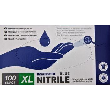 Handschoenen Nitril Blauw  Nr 10 Poedervrij 100 St  Extra Large Vzb 469002